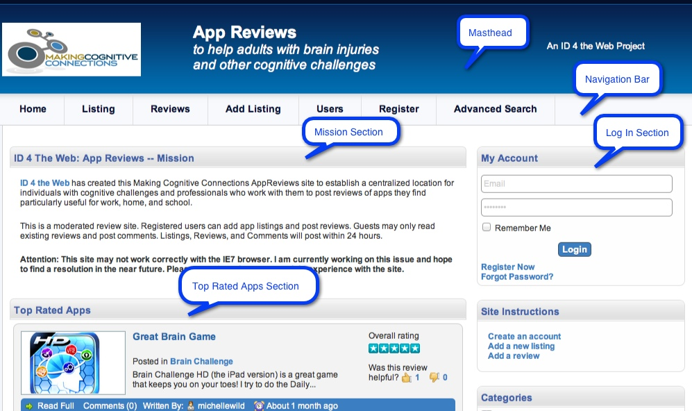 home page of App Reviews site