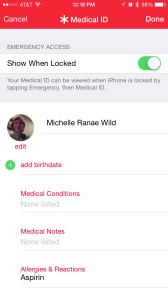 Medical ID screen within Health app