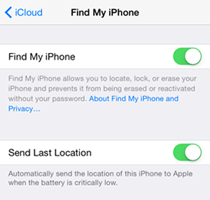 Find my iPhone screen options