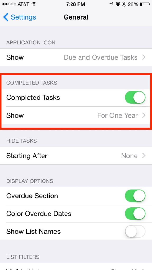 Todo General Settings Completed Tasks Section